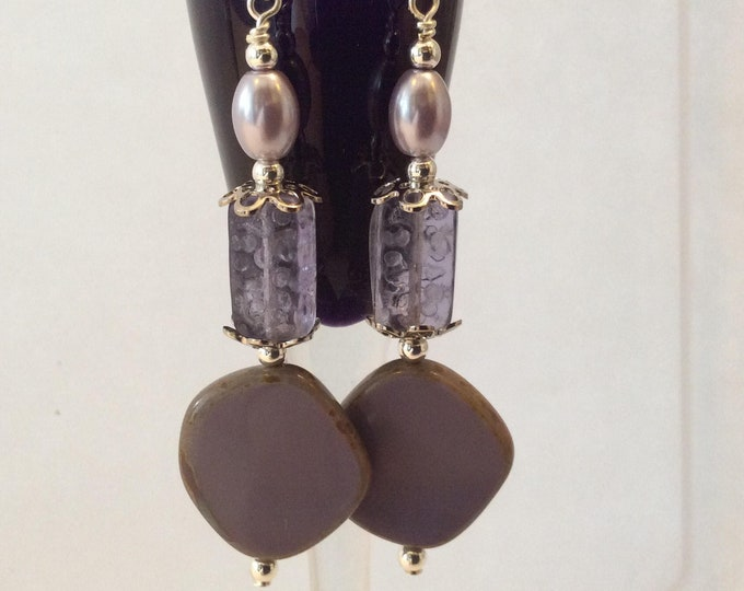 Lavender Glass pearl and Etched glass beads earrings