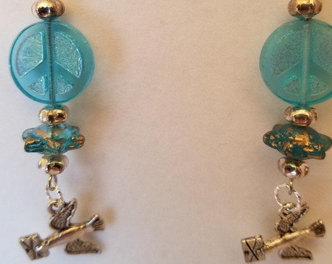 Earrings. Peace signs, satellite beads, doves.