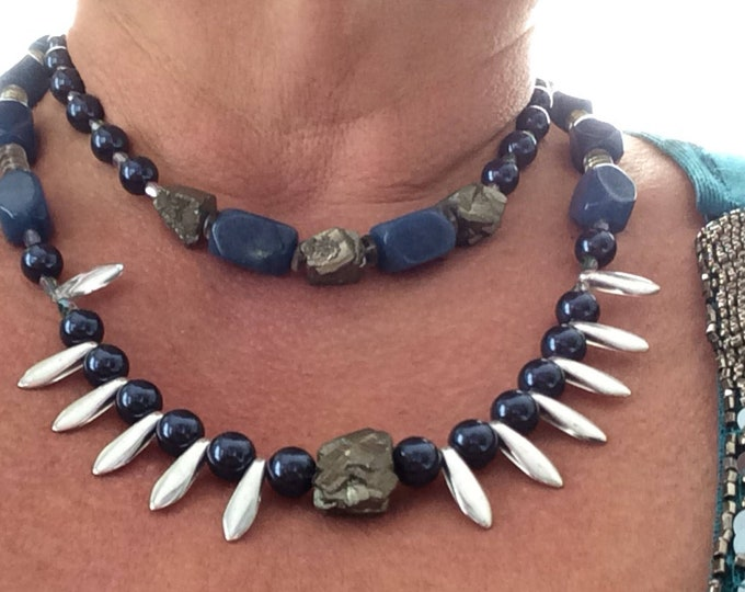 Necklace and earring set. Blue agate. Multi-strand glass pearl, blue agate, silver glass. Unique statement necklace.