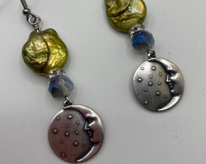 Moon, Star, Cloud and Pearl earrings