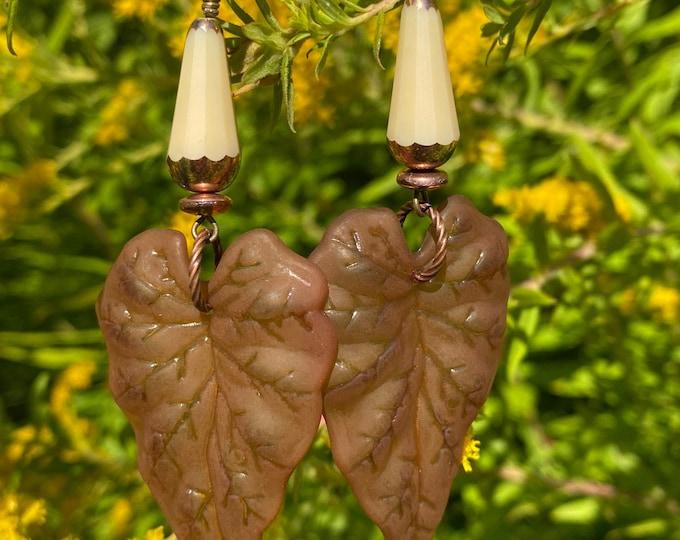 Leaf Earrings, Brown, Cream, Copper