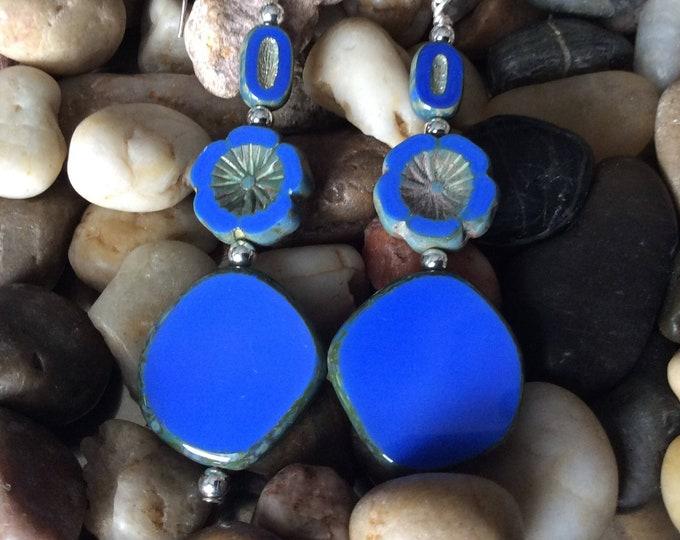 Earrings, dangle, electric blue