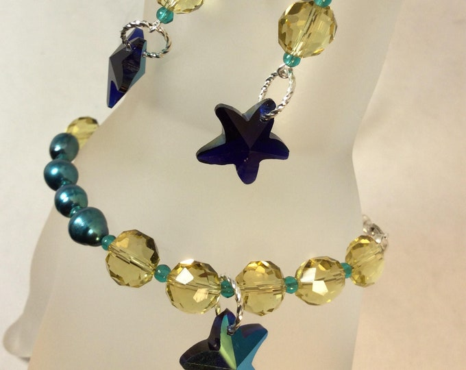Crystal bracelet and earring set. Yellow crystals, turquoise pearls.
