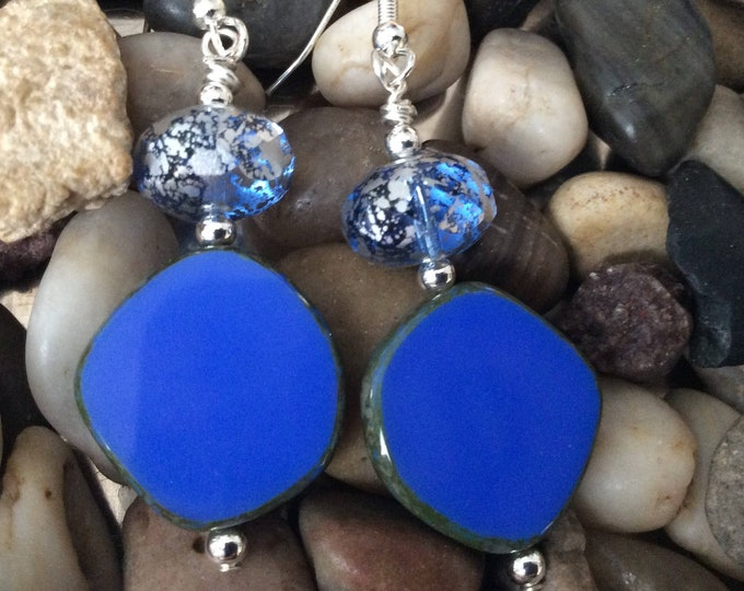 Earrings, dangle, electric blue Czech beads, sparkly