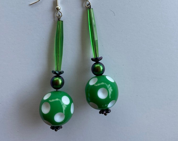 Vintage Green and White Polka Dot Bead earrings