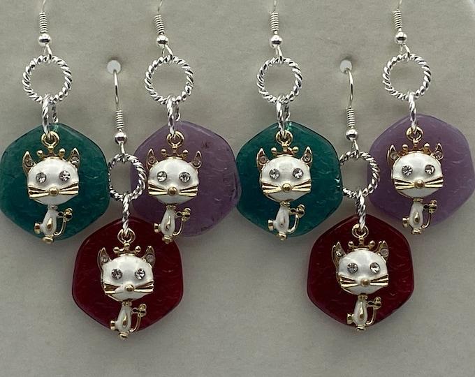 Cat dangle earrings, retro style, white