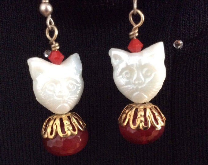Earrings. Calling all cat lady's! Cat Lover earrings with crystals and pearls