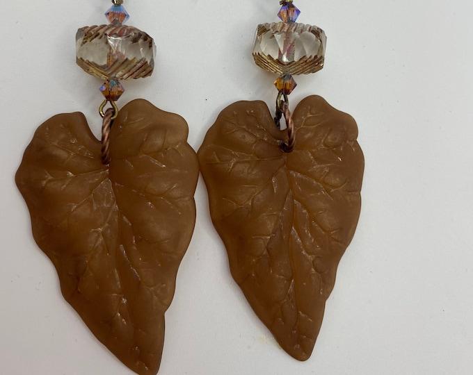 Leaf Earrings, Brown, Clear, Crystal