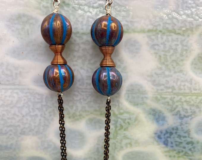 Earrings. Shoulder Duster. Blue and Copper