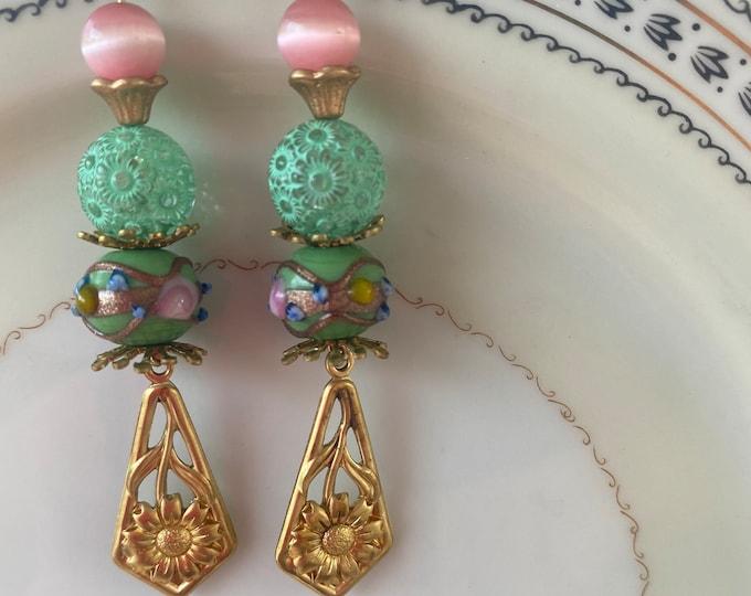 Dangle filigree earrings pink and green