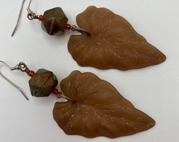 Leaf Earrings, Brown, Copper glass
