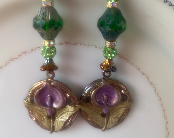 Calla Lily earrings purple and green