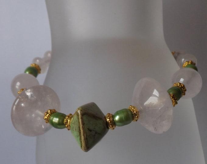 Bracelet Rose quartz, pearl, gold vermeil and porcelain beads