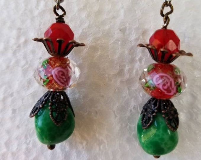 Rose, green and red dangle earrings