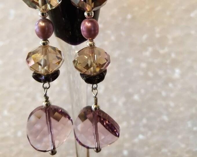 Earrings. Crystal and Pearl dangle earrings