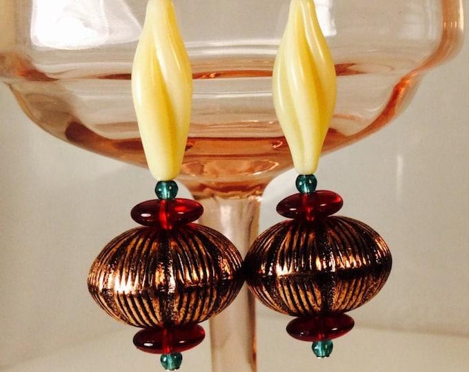 Earrings, Dangle. Copper. Vintage style