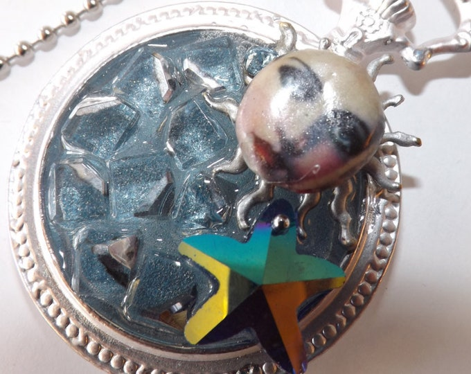 Necklace Celestial. Woman, Moon and stars. Pendant. Diva in Space Two. Altered pocket watch.
