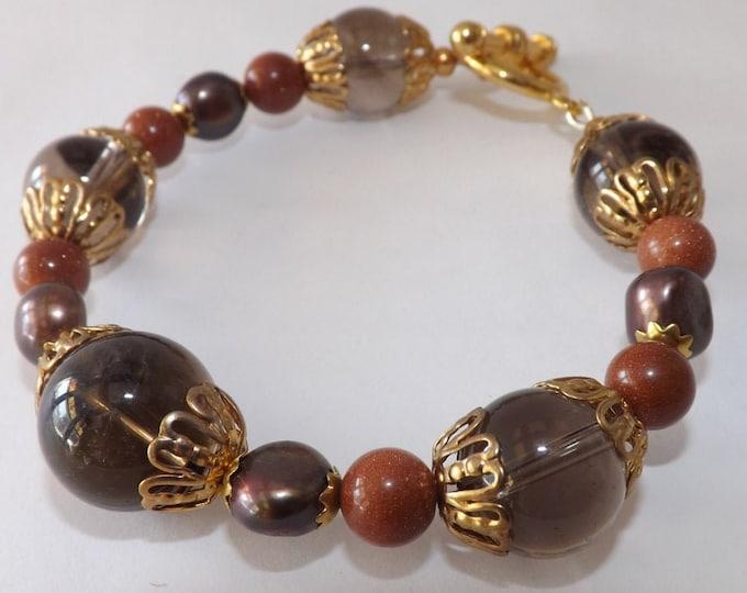 "Bracelet Smoky quartz, pearl, sunstone bracelet 8.5"" including clasp"