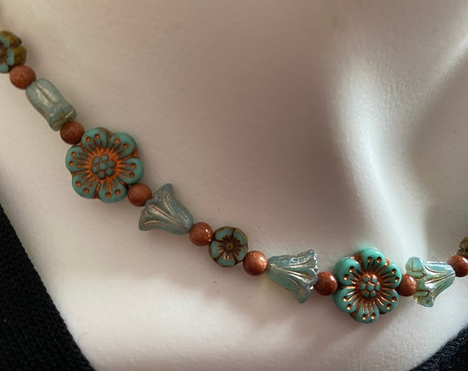 Flower Bead Choker Necklace Turquoise Glass Beads and Goldstone