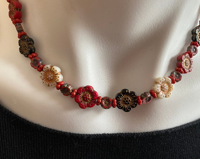 Flower Bead Choker Necklace Red, Black & White