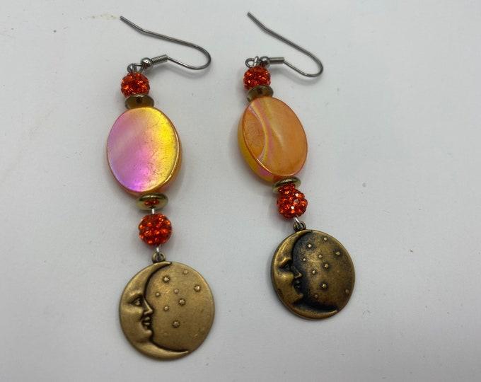 Moon and Pearl Earrings. Orange