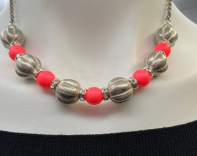 Glass Silver Melon Bead and Neon Pink necklace