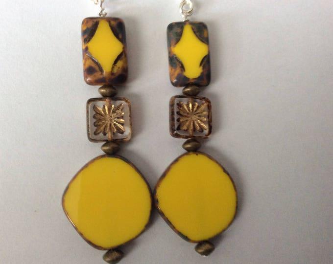 Yellow Czech glass earrings. Flowers
