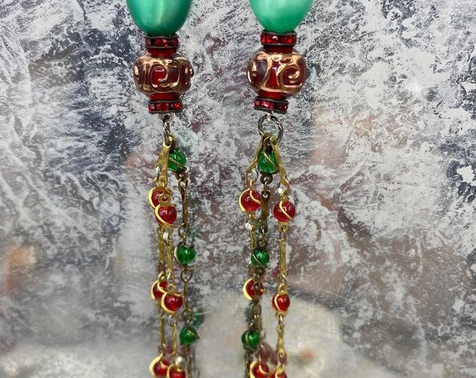 Moonglow vintage beads Long shoulder duster earrings