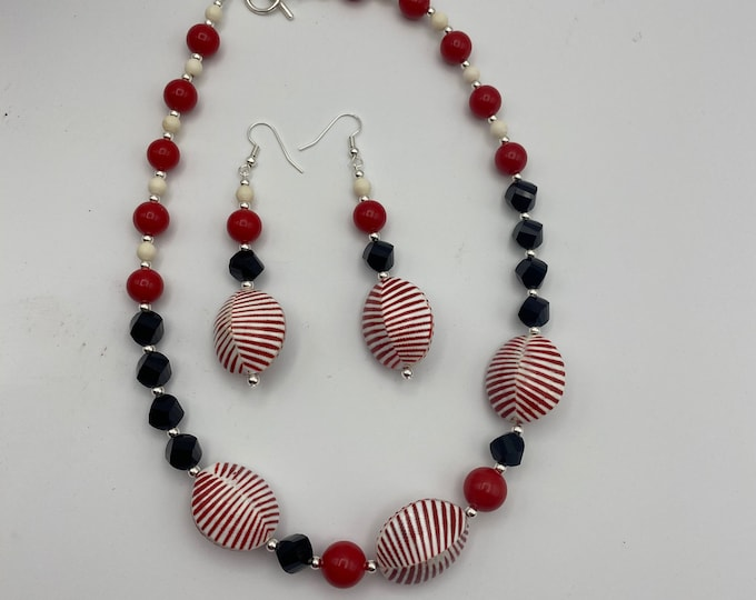 Retro Modern Black Red White Necklace and Earring set