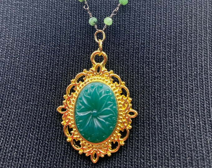 """Green Pendant necklace with ruby in zoisite chain. 19"""" length"""