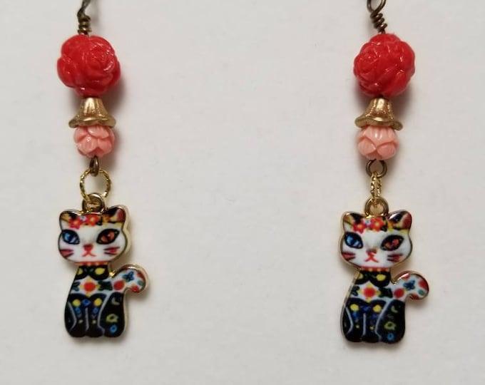 Cat and flower earrings