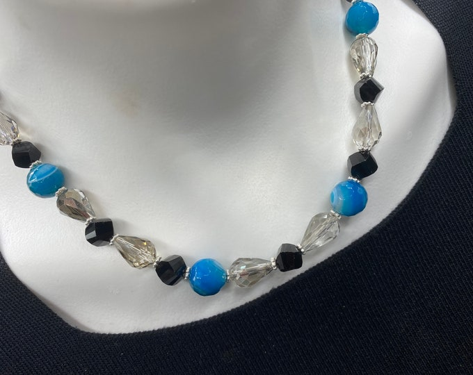 Crystal Quartz and Glass Cocktail Party Choker