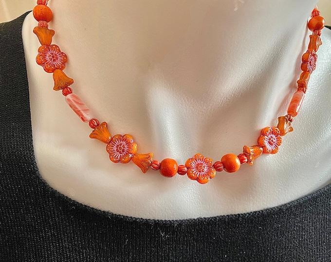 Flower Bead Choker Necklace Orange