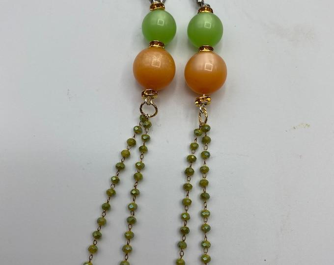 Vintage Moonglow bead earrings. Retro style shoulder duster earrings