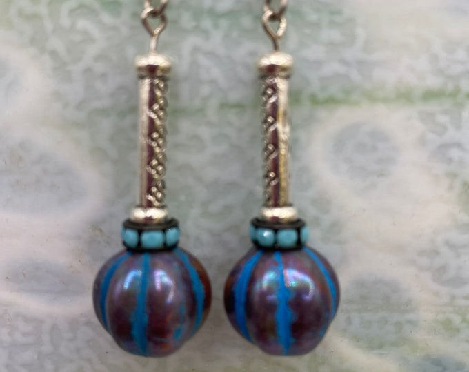 Earrings. Blue and Copper