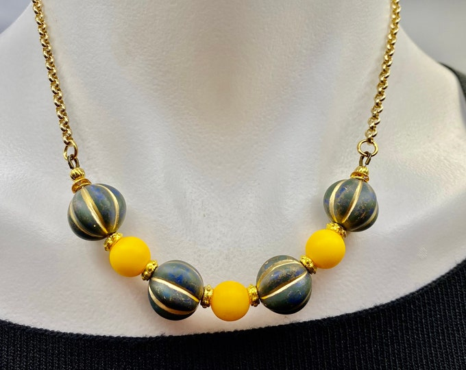 Black and Gold Melon Bead necklace