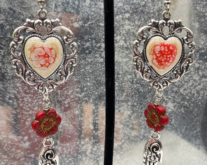 Heart and Hand dangle earrings