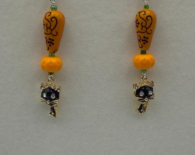 Black Cat and Pumpkin earrings