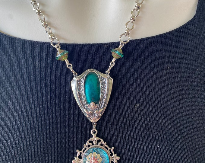 Czech button Cabochon and resin embellished necklace