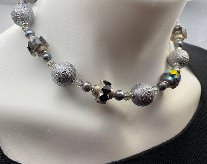 Grey and Silver Beaded Crystal, Pearl and Czech bead Choker