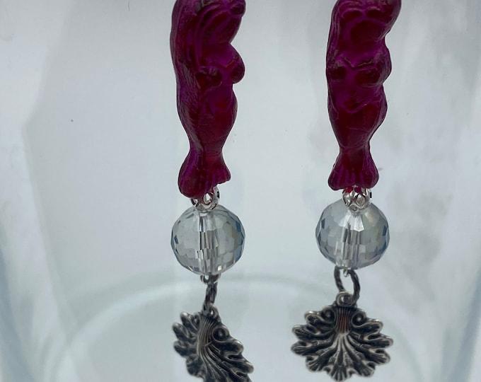 Mermaid Earrings Fuschia