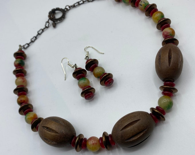 Necklace and Earring set. Tutti Frutti Tri-color jade with chocolate brown wooden beads.