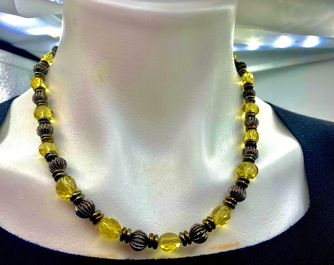 Yellow Crystal Necklace and Earring Set