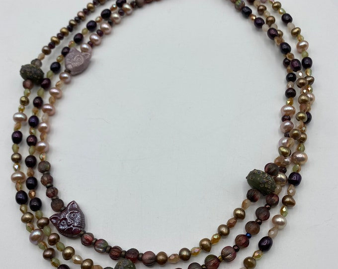 Necklace and Earring set. Pearl three strand with cats.