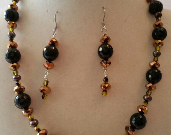 """Necklace and earrings  Mid Century Style. Atomic Green goldstone, crystal and pearls. 18"""""""