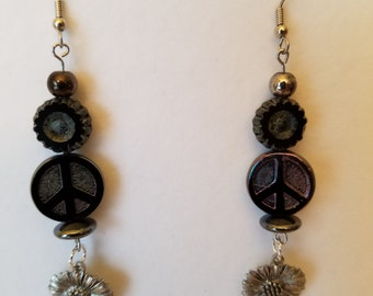 Earrings. Peace and Flowers. Black glass.