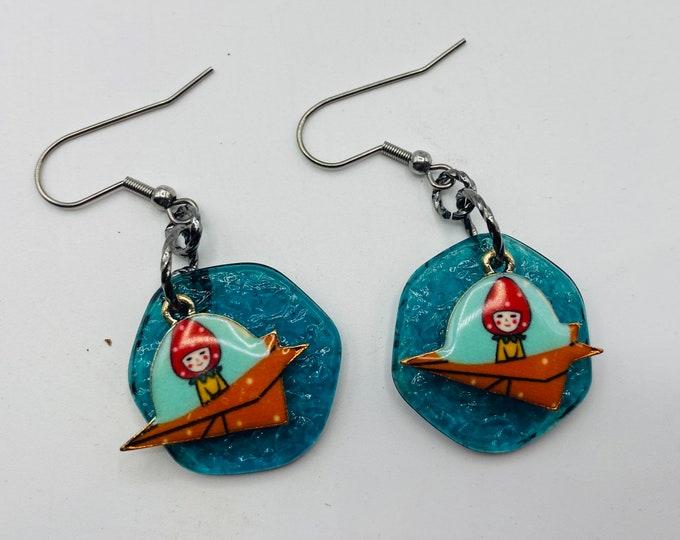 Jet age earrings aqua