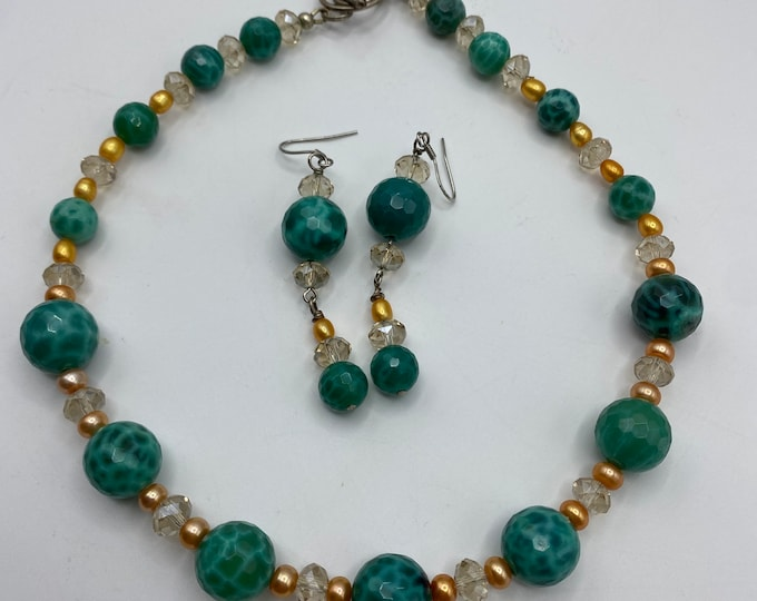 """Necklace and Earring set. Retro and Cruisewear style. Peacock Agate, Crystals and Pearls 16"""" necklace. 2.5 inch earrings."""