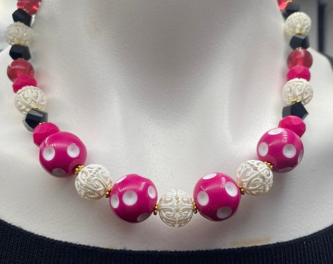 Pink Polka Dot Retro Modern Necklace and Earring Set