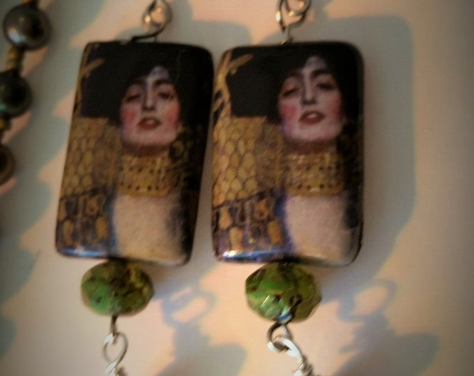 """Flapper Necklace and Earring set. Flapper style, Rope Necklace. Klimt style earrings. 42"""" necklace 2.5"""" earrings."""